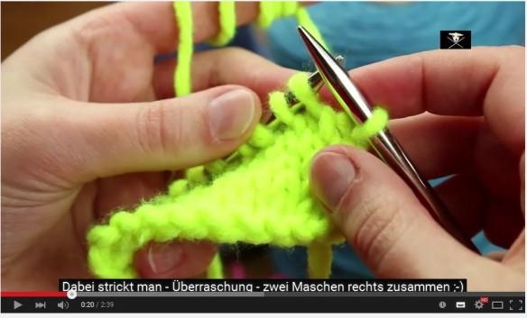ssk slip-slip-knit Maschen zusammenstricken Video