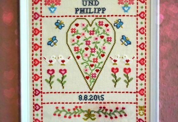 Kreuzstich Anleitung Hochzeitsgeschenk sticken