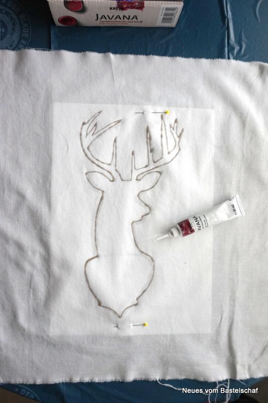 Hirsch auf Stoff malen