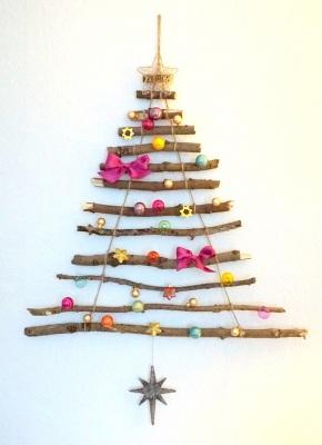 Weihnachtsbaum für die Wand basteln Anleitung kostenlos