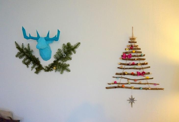 Weihnachtsbaum für die Wand Äste Falthirsch Origami