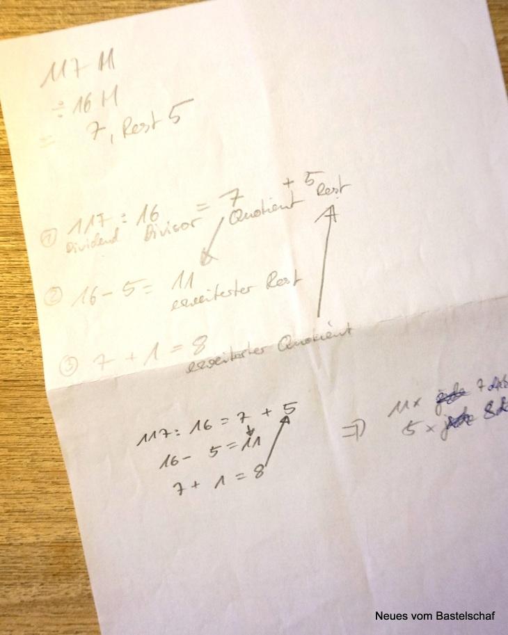 Maschen Zunahmen auf Reihen verteilen Berechnung