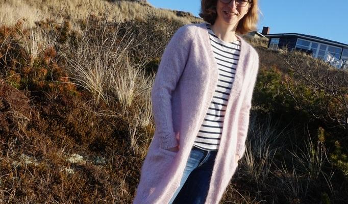 Strickjacke lang aus Drops Wolle Baby Alpaka Silk